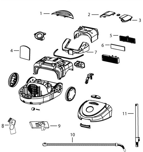 bissell 7100 zing canister vac parts list  u0026 schematic
