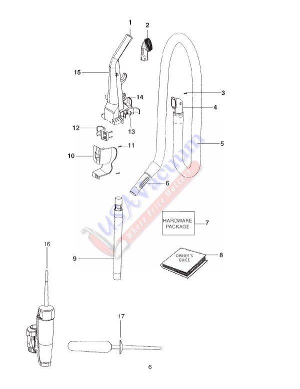 Eureka 2950 Bagless Upright Vacuum Parts List & Schematic