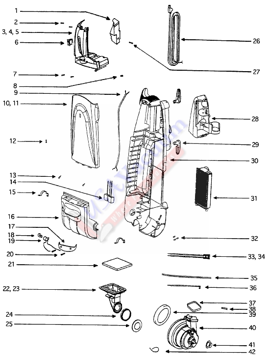 Eureka 5181AT-2 The Boss Self-Propelled / Precision Upright Vacuum Parts List & Schematic