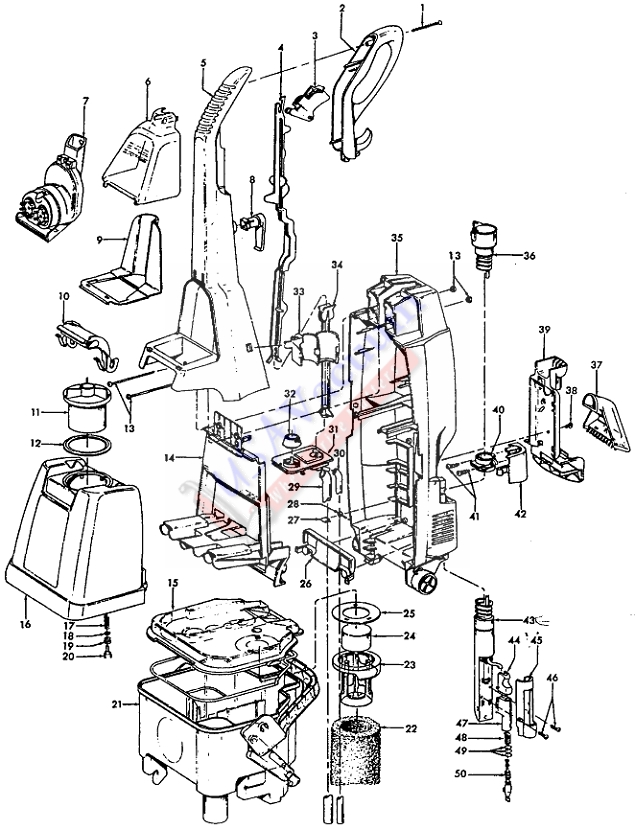 Hoover F5867 SteamVac Upright Extractor Parts List & Schematic