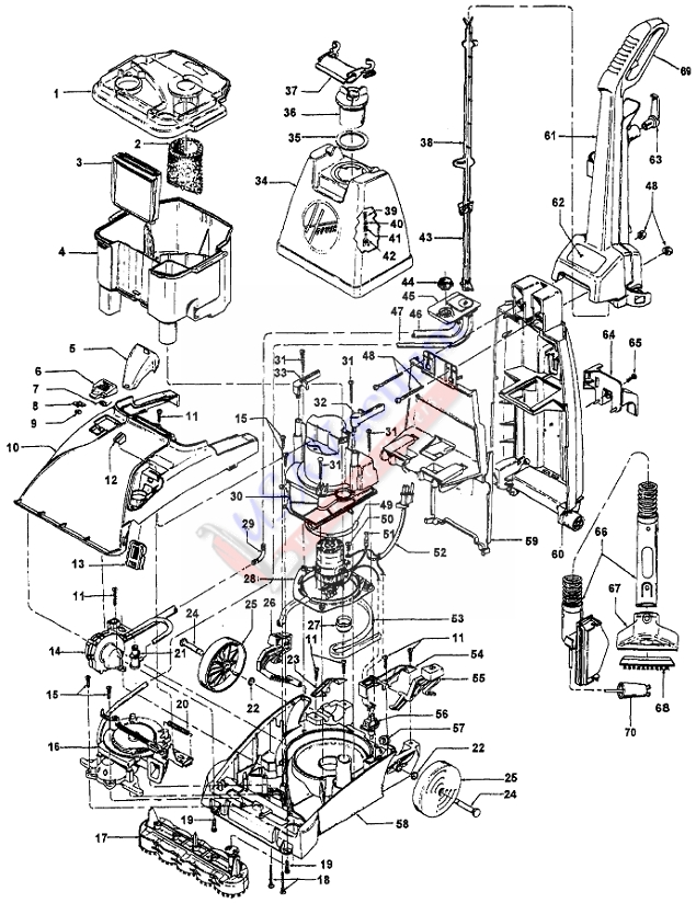 Hoover F5858 SteamVac Upright Extractor Parts List & Schematic