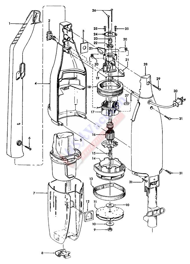 hoover s2509 hard floor bagless vacuum cleaner parts list  u0026 schematic