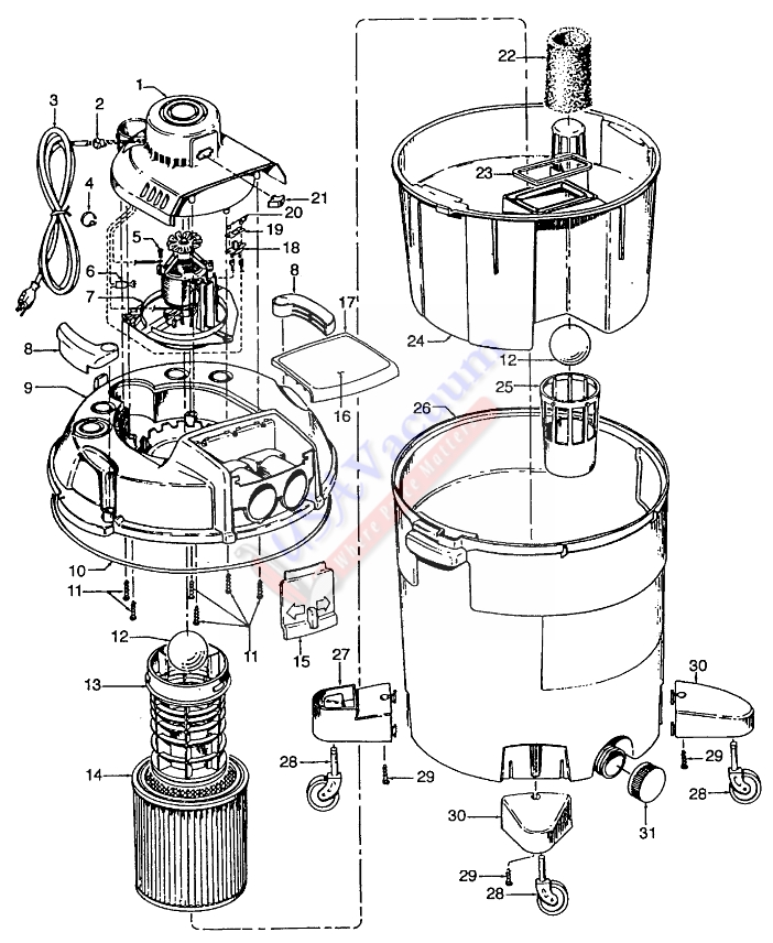 Hoover S6631 Wet / Dry Vacuum Cleaner Parts List & Schematic