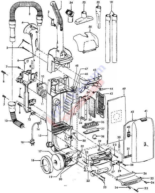 Hoover U5433 WindTunnel Upright Vacuum Cleaner Parts List & Schematic