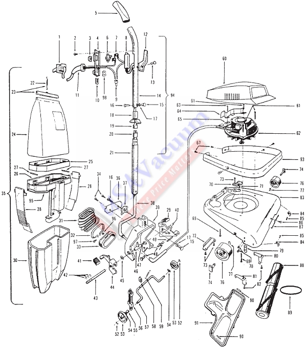 Hoover U7063 Commercial Upright Cleaner Parts List & Schematic