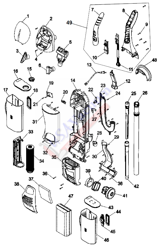 hoover uh40080 windtunnel bagless upright vacuum parts