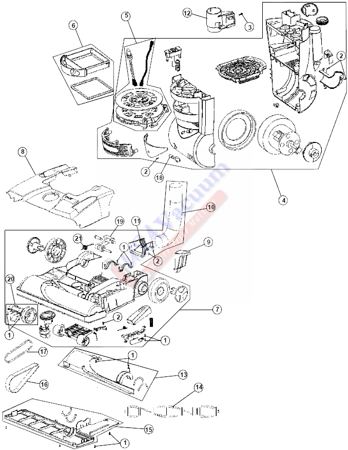 Hoover UH70086 WindTunnel Cyclonic Pet Rewind Plus Upright Vacuum Parts List & Schematic