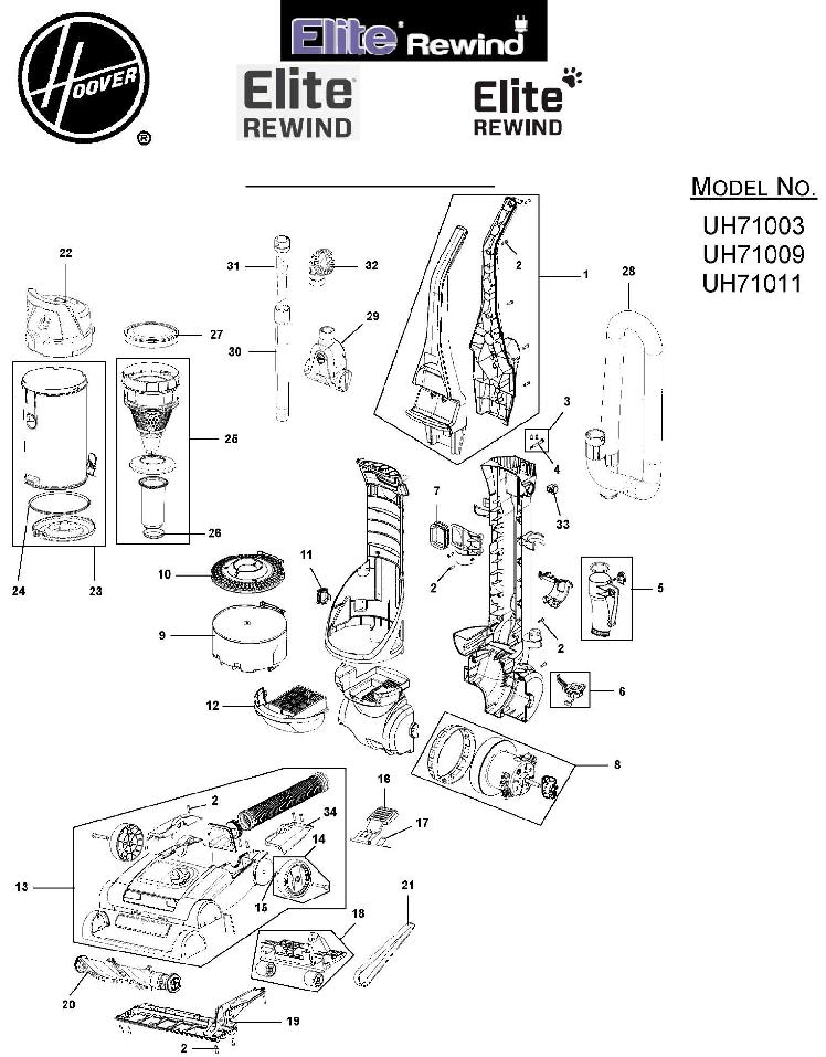 hoover uh71009 elite rewind bagless upright vacuum parts