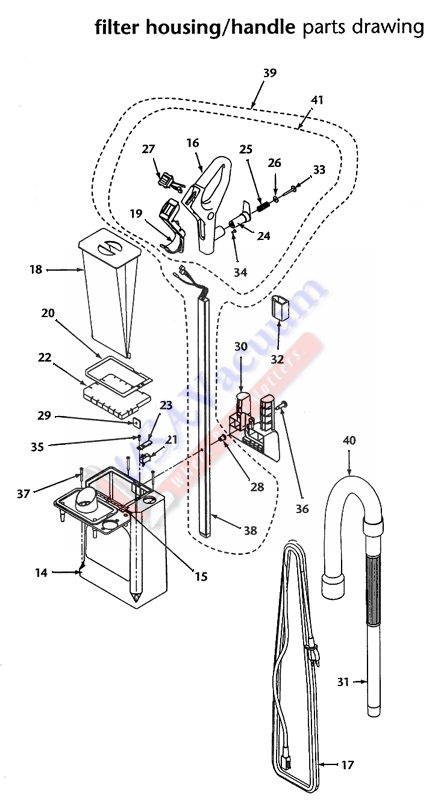 proteam procare 15xp upright vacuum parts list  u0026 schematic