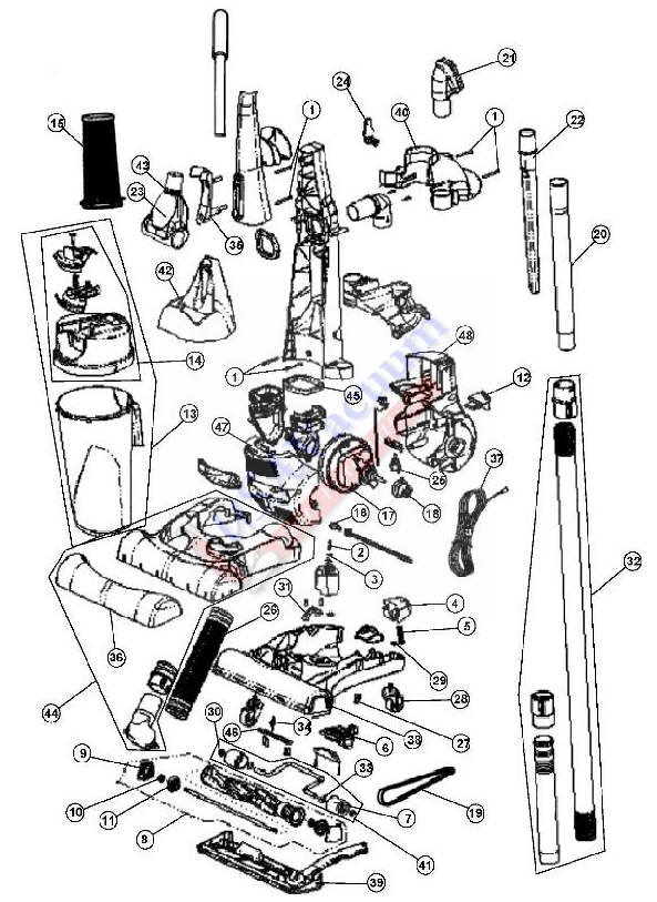royal 14 quot bagless commercial upright ry6100 royal model number ry6100 parts list schematic