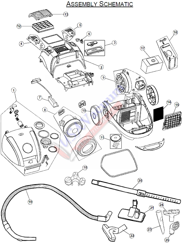 royal lexon s15 household canister vacuum sr30015  royal model number sr30015 parts list  u0026 schematic