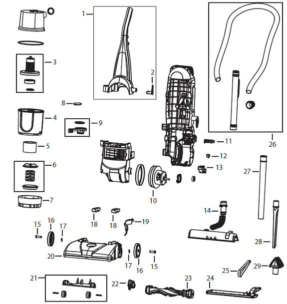 Bissell 12B1 PowerForce Helix Bagless Upright Vacuum Parts List Schematic