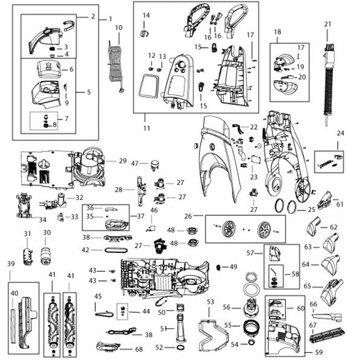 Bissell 66Q4 73A5 9500 ProHeat 2X Cleanshot & Healthy Home Parts List & Schematic