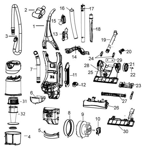 Bissell 3950 Velocity Upright Vacuum Parts List Schematic