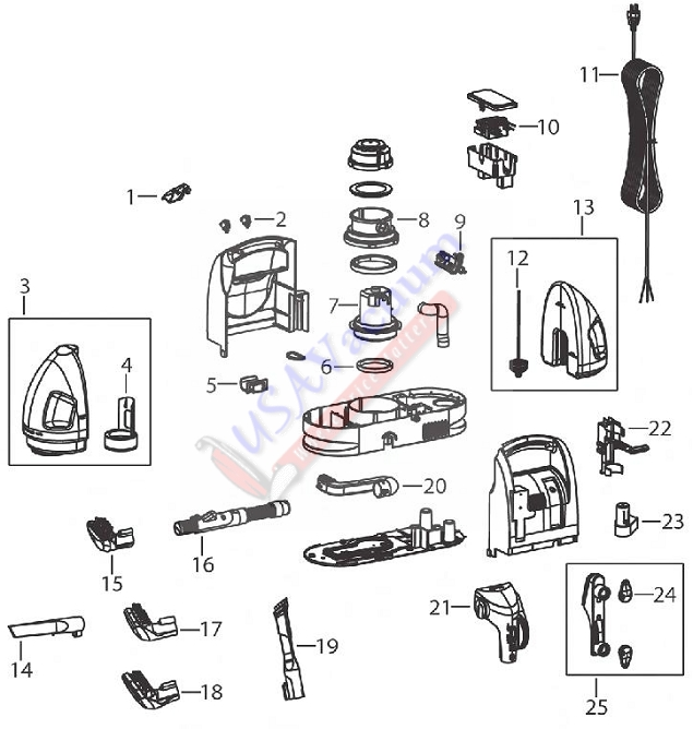 Bissell 1425 Series Little Green Machine Parts List Schematic