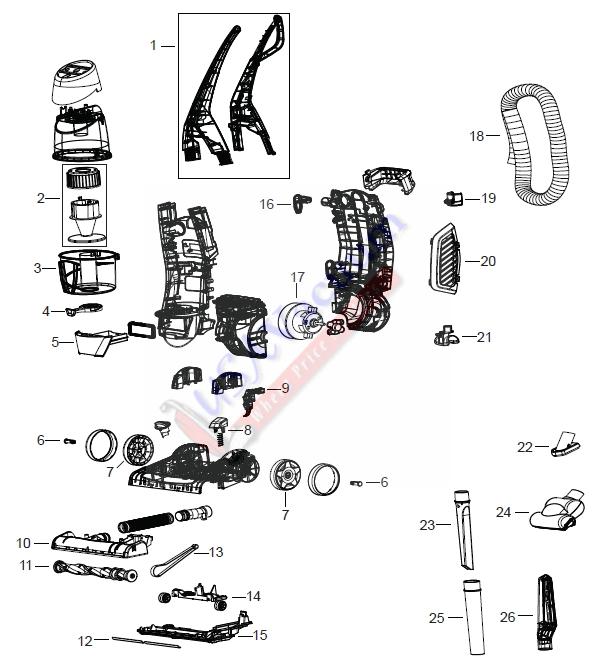 Bissell 61C5 52C5 Total Floors Upright Vacuum Parts List U0026 Schematic