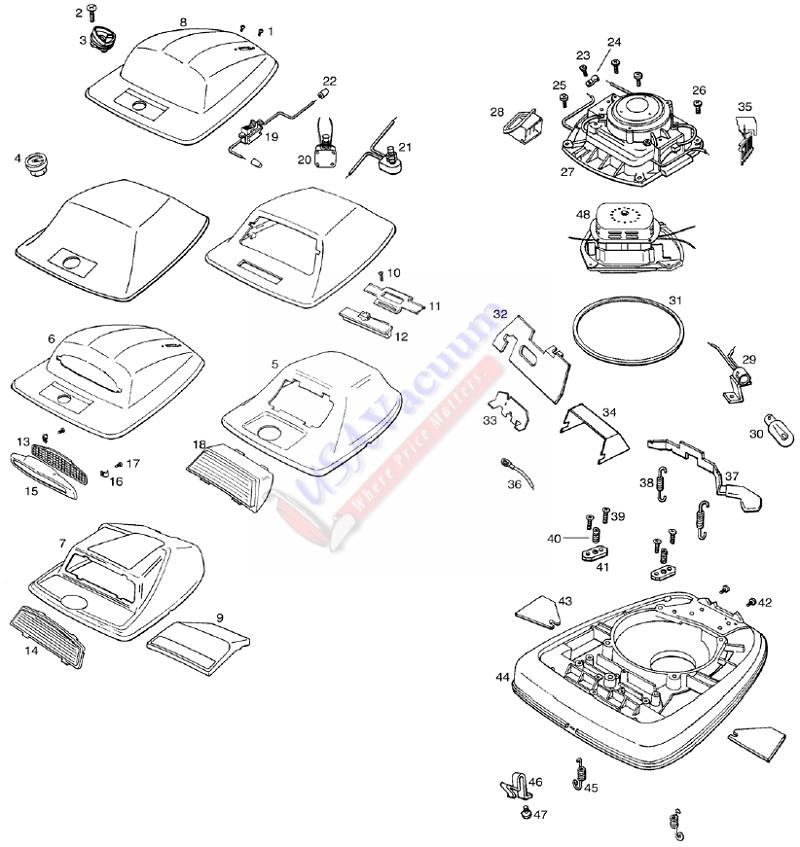 Eureka 2086 Upright Vacuum Parts List Schematic
