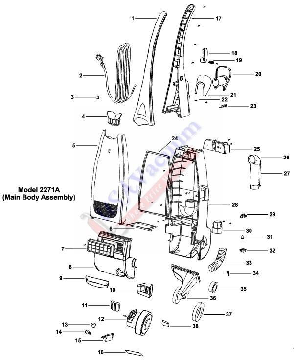 eureka 2271 upright vacuum cleaner parts