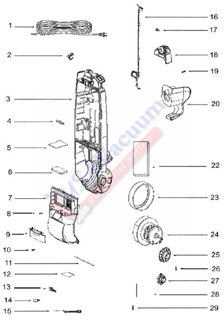 eureka 2903a upright vacuum cleaner parts list  u0026 schematic
