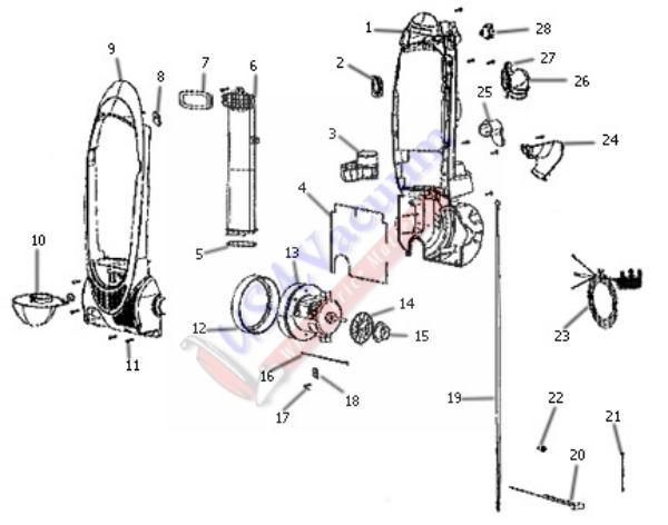 eureka 3041 enviro vac bagless upright parts
