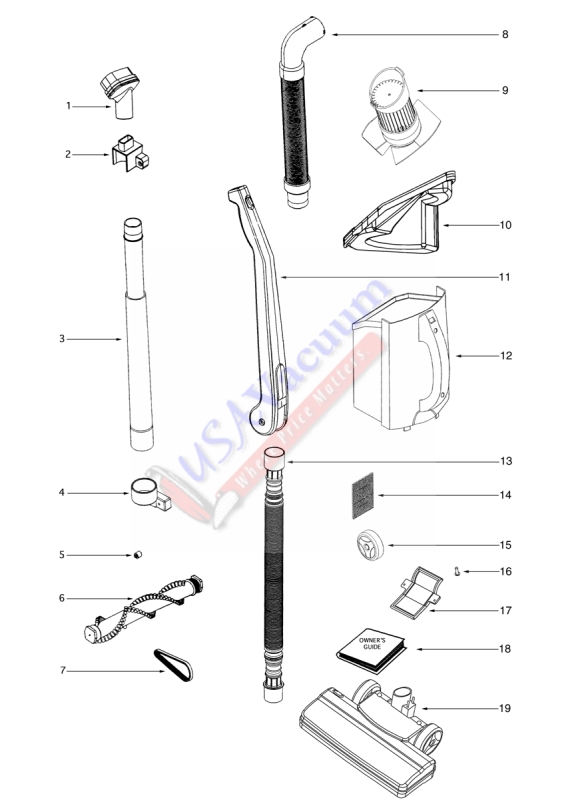Eureka 411 Bagless Upright Vacuum Parts Usa Vacuum