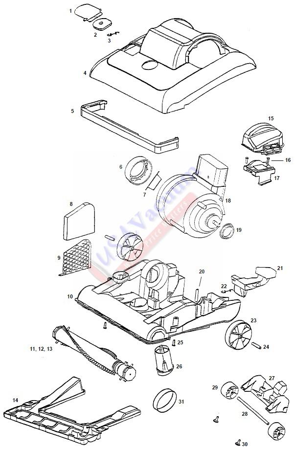 eureka 7629 bravo ii direct air upright vacuum parts