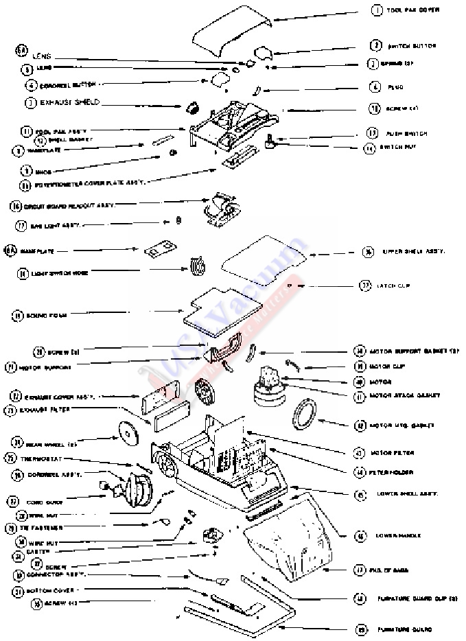 Eureka 8283 Express Canister Vacuum Cleaner Parts List Schematic