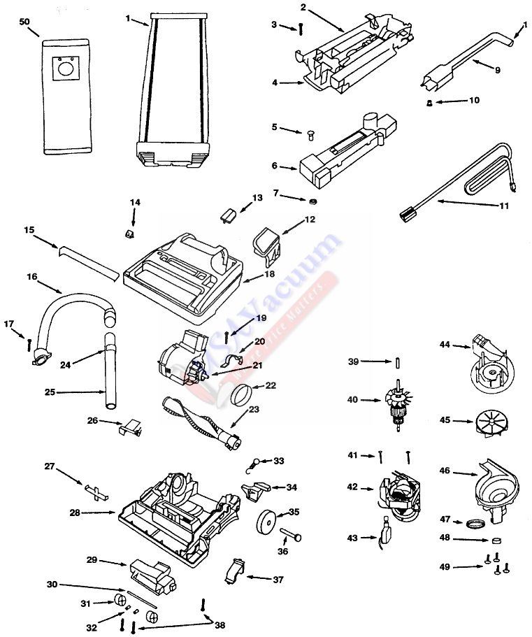 Eureka 9834 Mega Boss World Vac Upright Vacuum Parts List Schematic