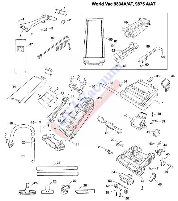 Eureka 9834A 9834AT 9875A 9875AT World Vac Upright Vacuum Cleaner Parts List Schematic