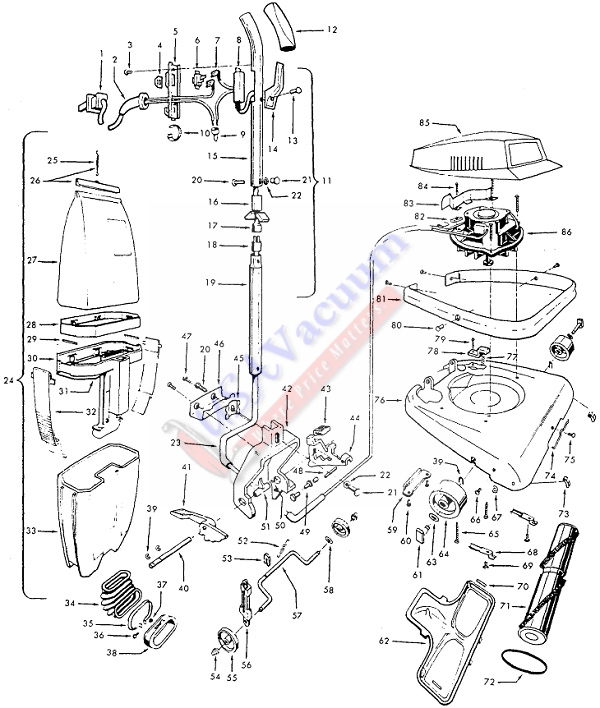 Hoover C1401 Industrial Upright Vacuum Cleaner Parts List & Schematic