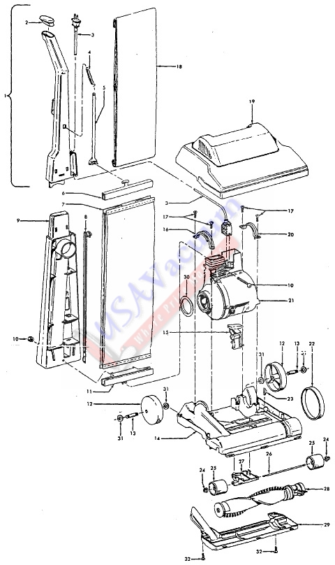 hoover c1403 lightweight commercial upright vacuum cleaner parts
