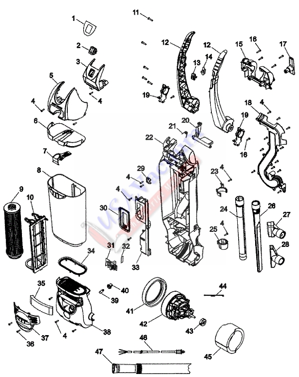 Hoover C1660 Twin Chamber Hush Bagless Commercial Upright Main Body Parts List & Schematic, Hoover Model C1660 Parts List & Schematic