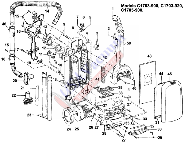 Hoover C1703 WindTunnel Bagged Upright Main Unit Parts List & Schematic, Hoover Model C1703 Parts List & Schematic