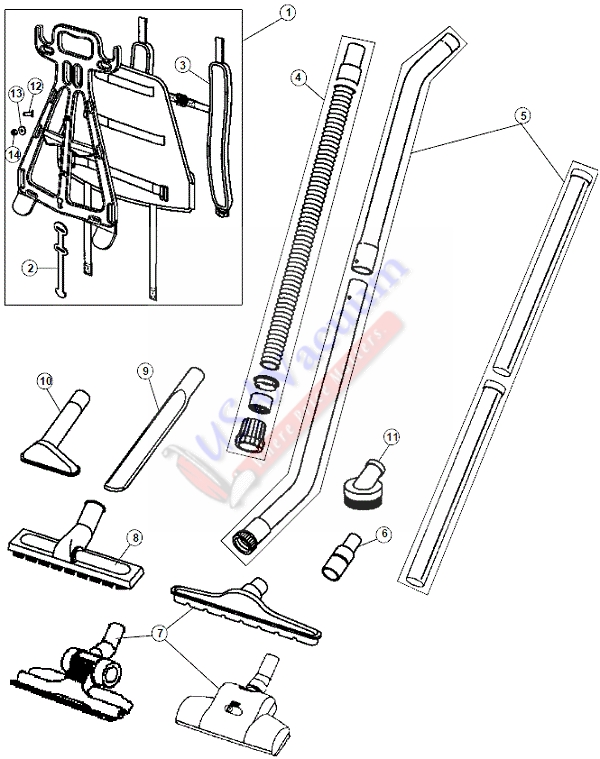 Hoover C2401 Commercial Back Pack 1 5 Diameter Tools