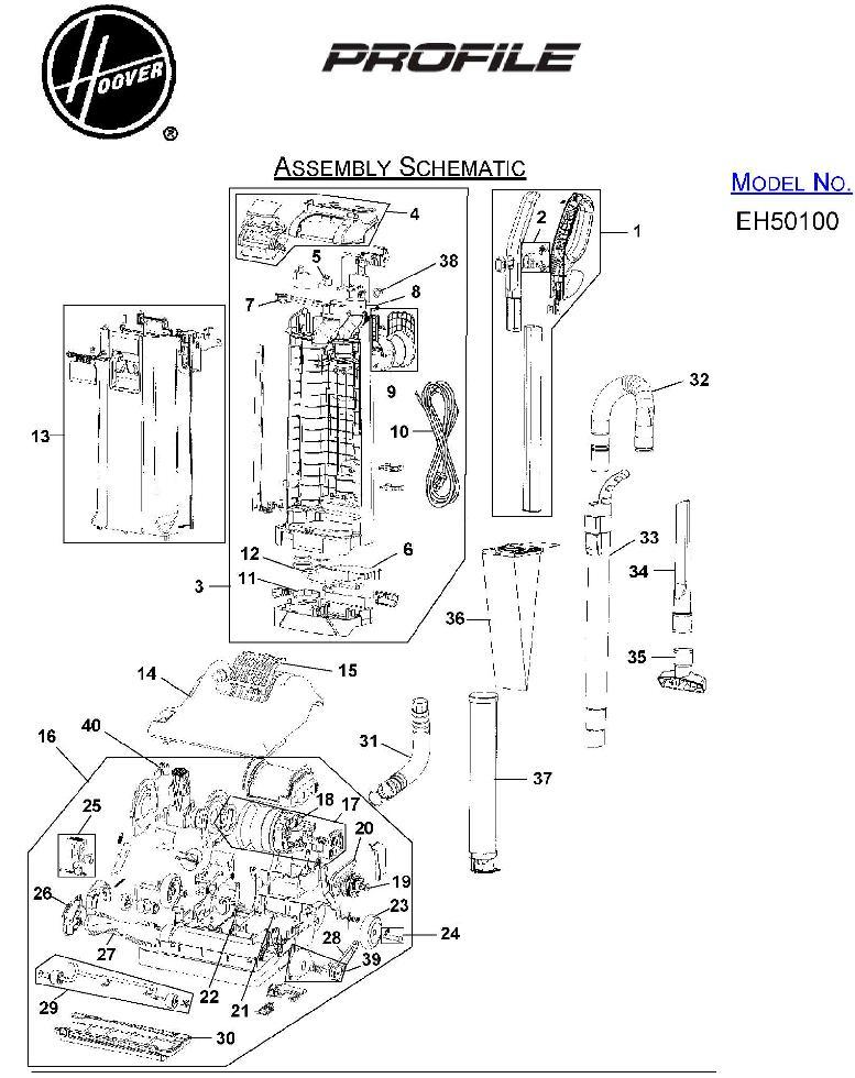 hoover eh50100 profile upright vacuum parts list  u0026 schematic