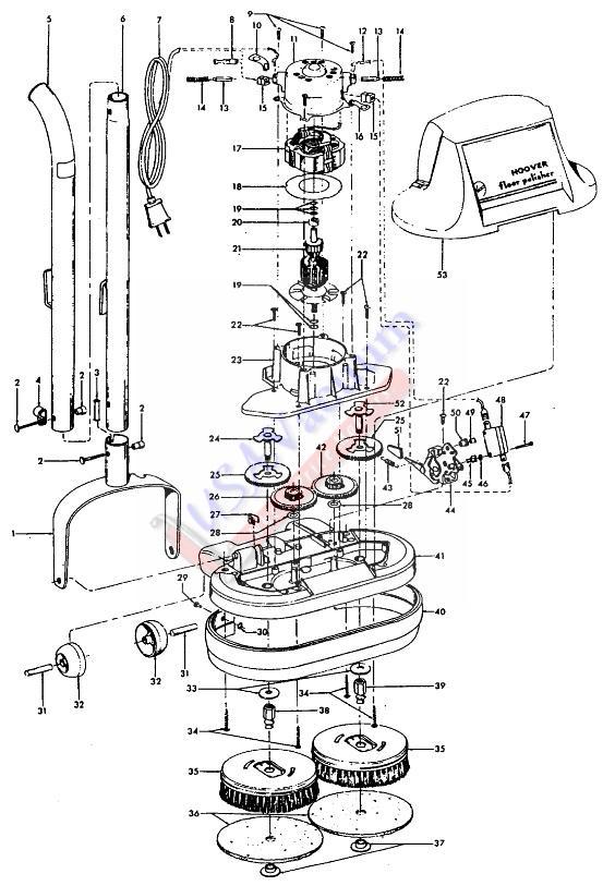 Hoover F2101 Floor Polisher Parts List Schematic Model