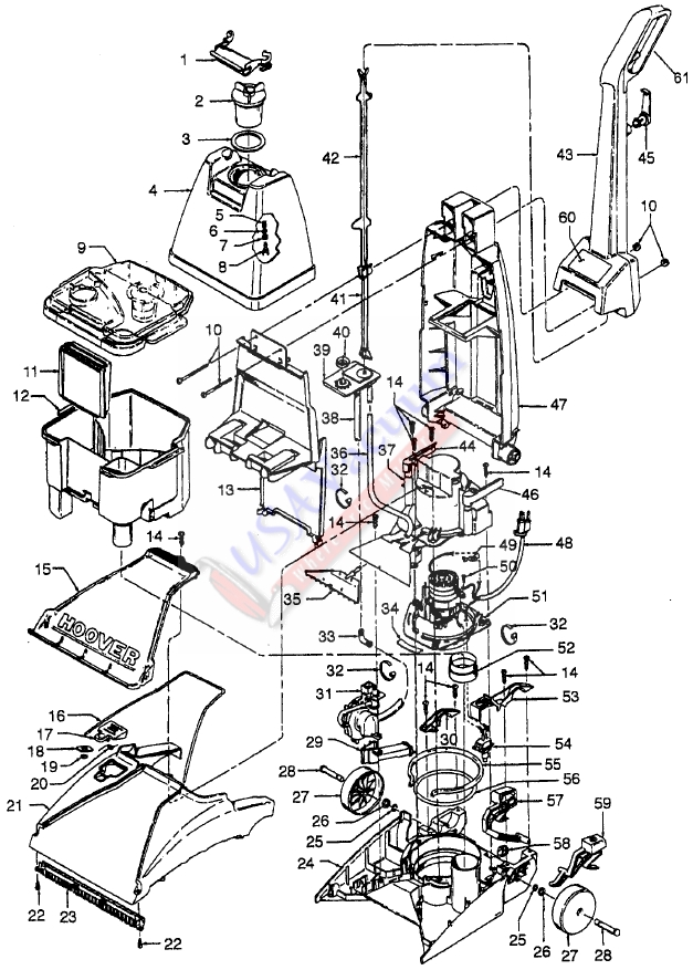 Hoover F5822 SteamVac Supreme Upright Extractor Parts List & Schematic