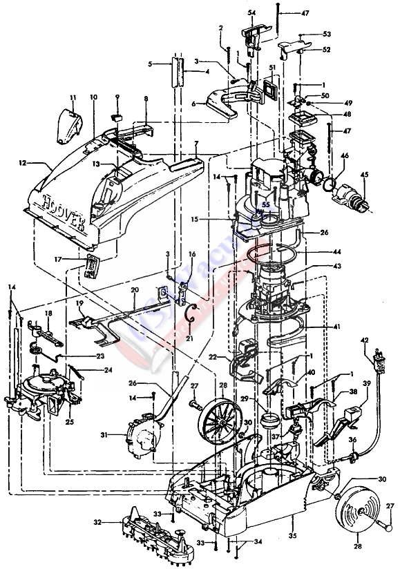 Hoover F5870 SteamVac Upright Extractor Parts List & Schematic