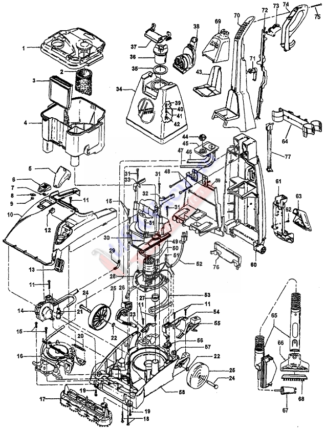 Hoover F5888 SteamVac Upright Extractor Parts List & Schematic