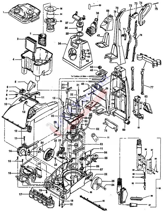 Hoover F5903, F5904, F5905, F5910, F5912, F5914, F5915 SteamVac Carpet Washer Parts List & Schematic