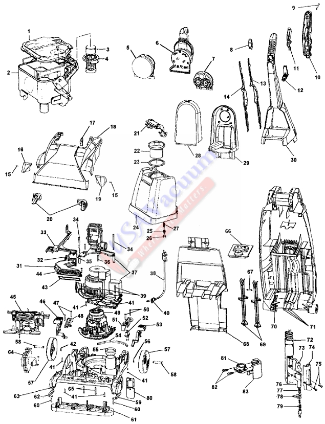 Hoover F6023 SteamVac WidePath Upright Extractor Parts List & Schematic