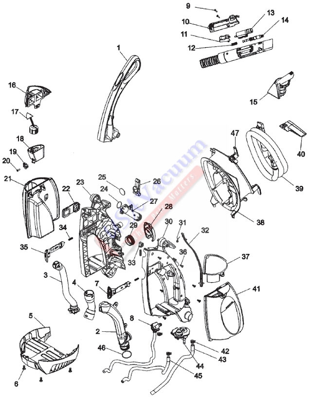 Hoover F6207 SteamVac Agility Parts List & Schematic