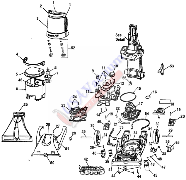 Hoover F7226 SteamVac Dual V with Auto Rinse Upright Extractor Parts List & Schematic