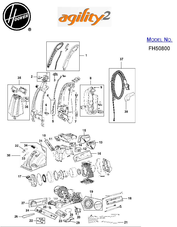 hoover fh50800 agility 2 carpet cleaner parts list  u0026 schematic