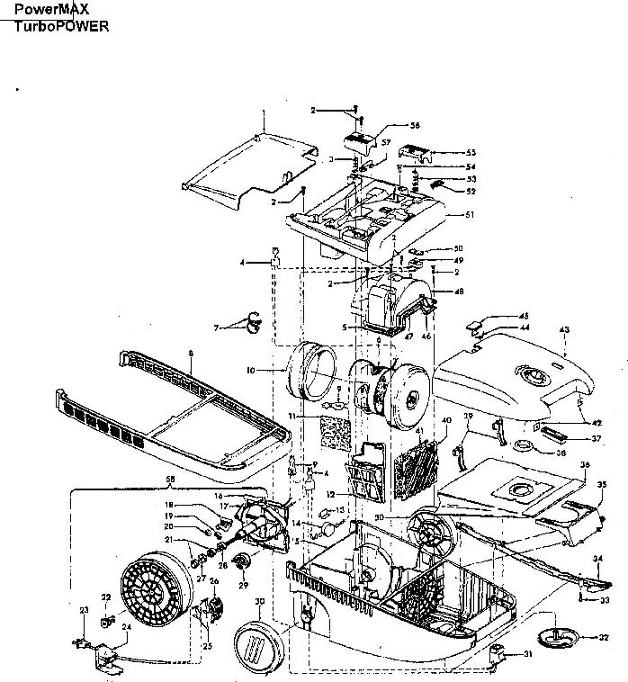 Hoover S3607 Powermax Canister Vacuum Parts List Schematic