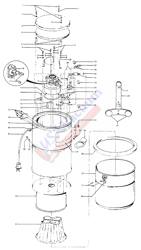 hoover s5533 central vacuum system canister parts list & schematic