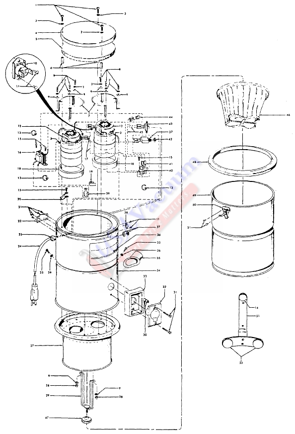 hoover s5535 central vacuum system canister deluxe parts usa vacuum rh usavacuum com Engine Vacuum Diagrams beam central vacuum schematic