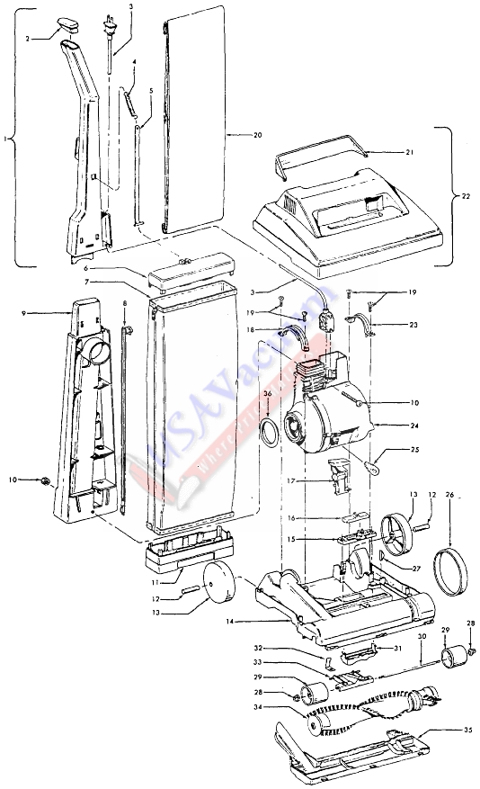 Hoover U4465 Elite Upright Vacuum Parts List & Schematic