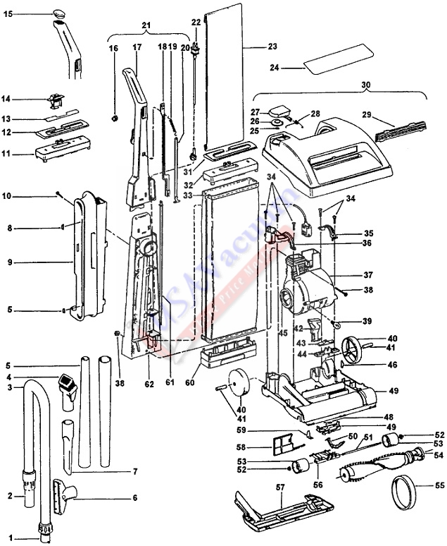 Hoover U4585 Legacy II Upright Vacuum Parts List & Schematic