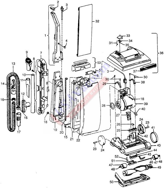 Hoover U5043 Elite II Upright Vacuum Parts List & Schematic